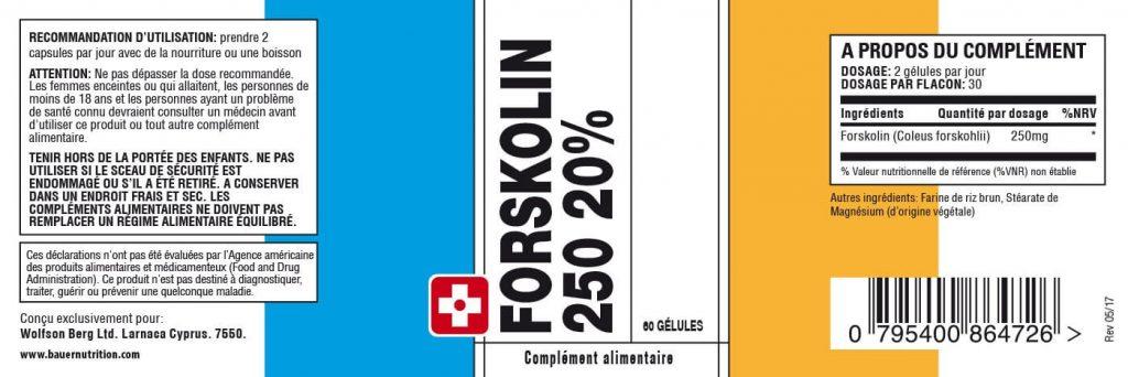 Composition du complément alimentaire Forskolin 250