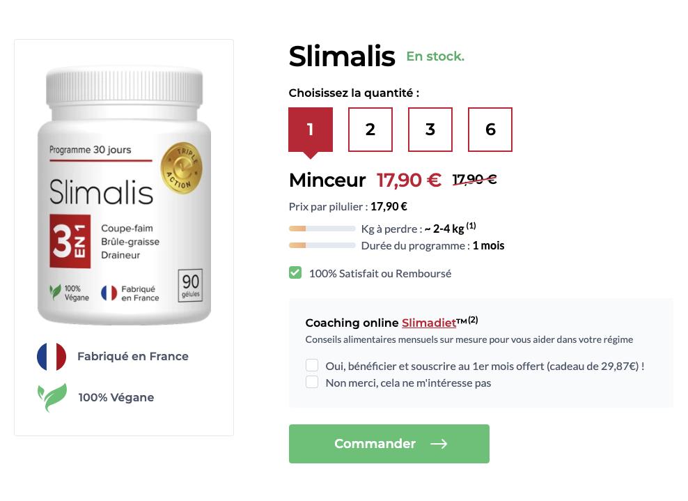 Site officiel pour acheter Slimalis