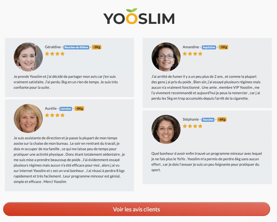 Avis des clients sur Yooslim